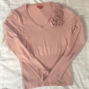 Elle Pink Fitted Sweater with a touch of roses